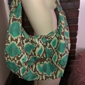 Anne Klein python print leather hobo slouch purse